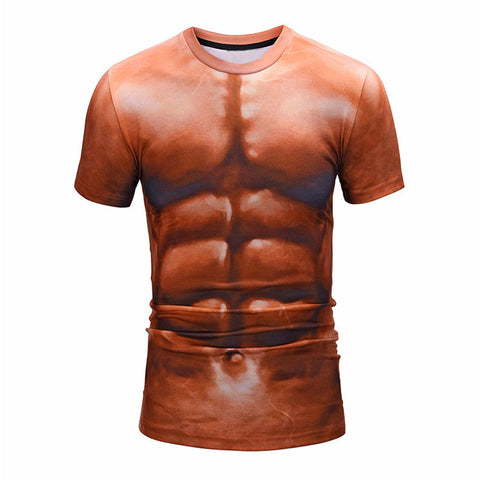Men's Dark Skinned Muscle 6-Pack All Over Printed T-Shirt