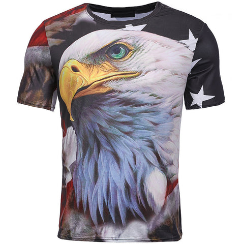 Men's Patriotic Eagle All Over Printed T-Shirt