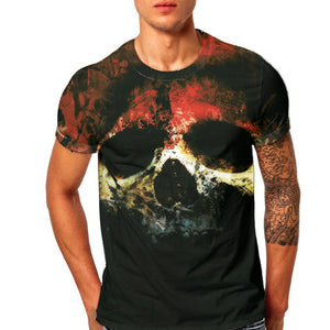Men's All Over Printed Fire Skull T-Shirt