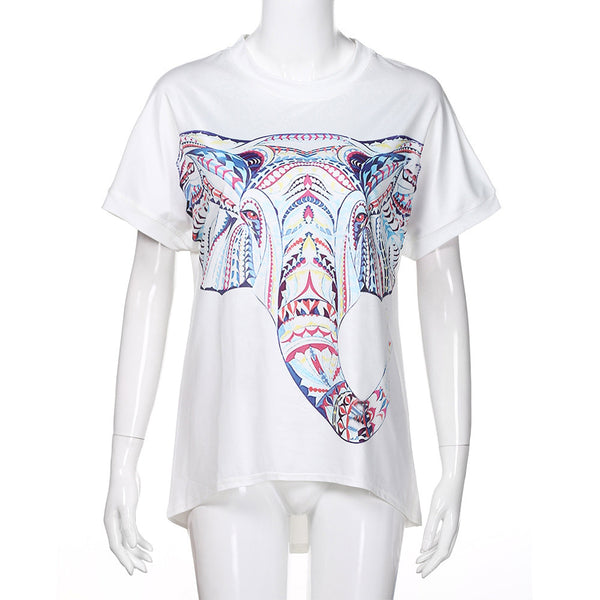 Women's Casual Printed Short Sleeved T-Shirt Tunic Blouse