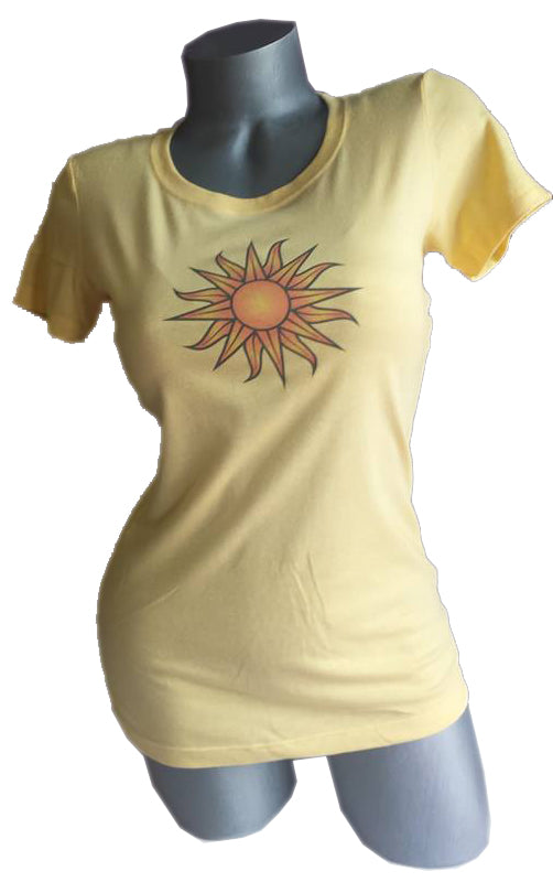 yellow womens sun design on ladies t-shirt