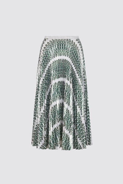 Keira Metallic Pleated Midi Skirt