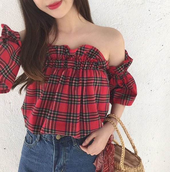Plaid Frilly Top