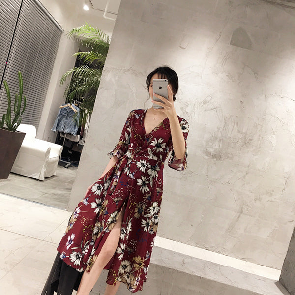 Floral Print One Piece Dress