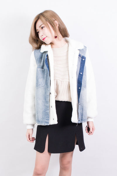 Furry Denim Vest and Jacket Set , outerwear - Trinity Styles, Trinity Styles  - 1