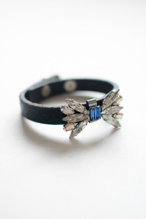 Butterfly Crystal Leather Bracelet , accessories - Trinity Styles, Trinity Styles  - 1