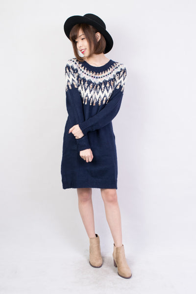 Rirandture Feather Sweater Dress Navy, dresses - Trinity Styles, Trinity Styles  - 1