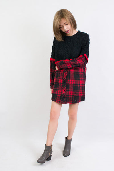 Half Plaid Sweater , tops - Trinity Styles, Trinity Styles  - 1