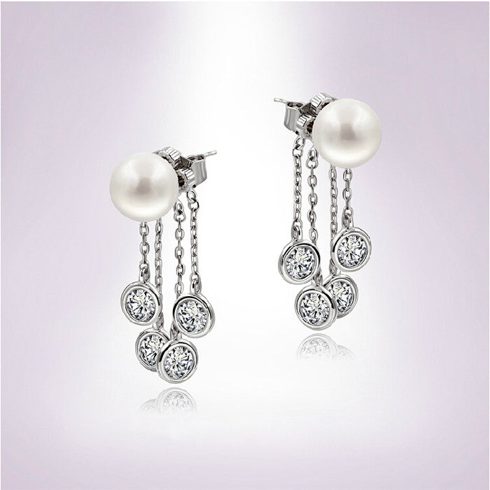 Crystal Droplet Pearl Earrings , Accessory - Trinity Styles, Trinity Styles  - 2