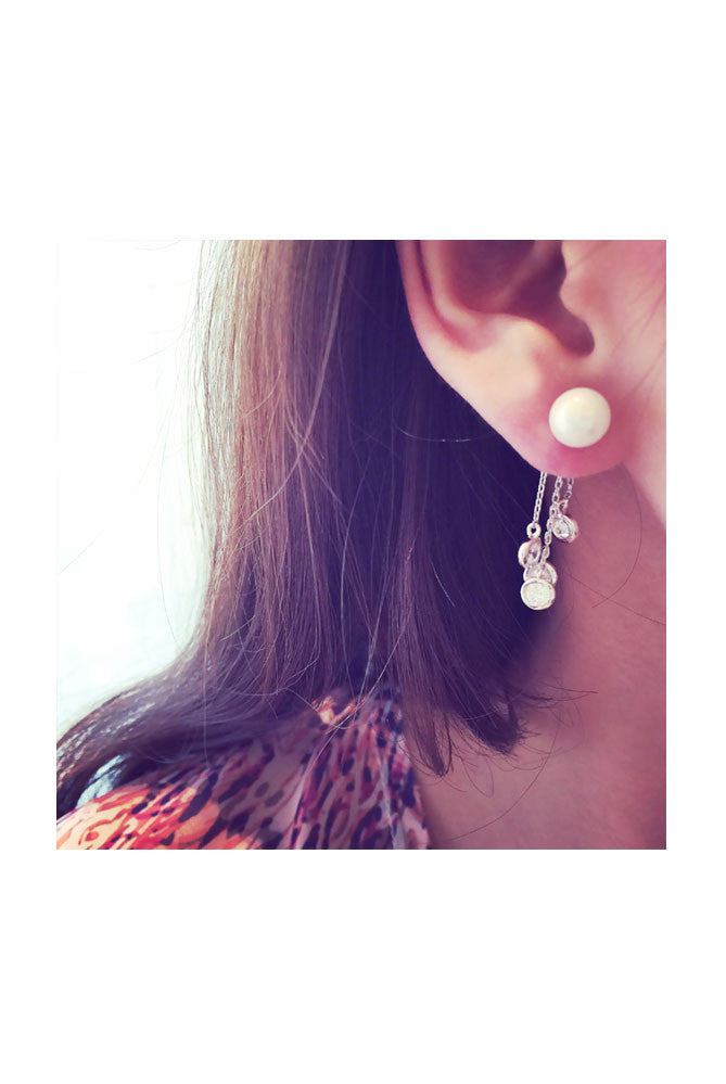 Crystal Droplet Pearl Earrings , Accessory - Trinity Styles, Trinity Styles  - 1