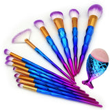 Unicorn Diamond Makeup Brush + Mermaid Kabuki Set