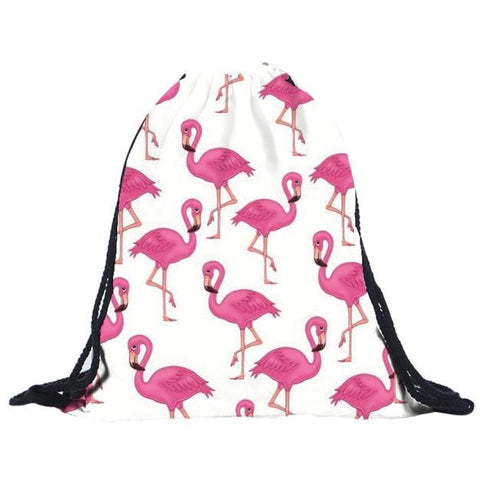 Tropical Flamingo Drawstring Bag