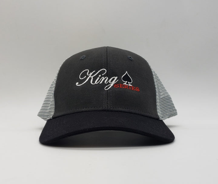 King Series 6 Door Pickup Truck Hudson Trucker Cap 55/45 cotton/polyester Canvas front panels, mesh back Structured, mid-profile, six-panel Pre-curved visor NO Sweat™ moisture-wicking sweatband Snapback closure