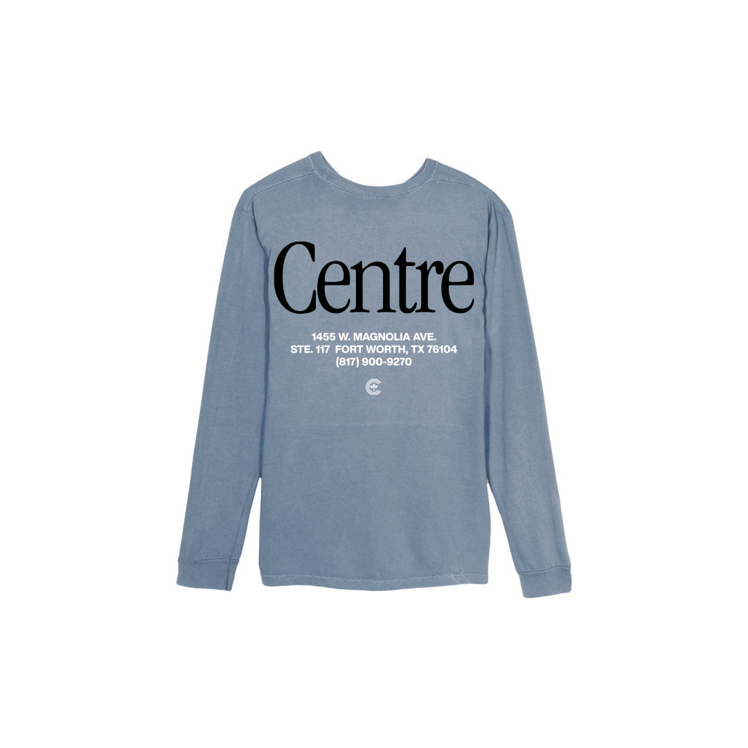 Centre Fort Worth Brick & Mortar Long Sleeve Tee (Blue Jean/Black) - Centre Fort Worth Brick & Mortar Long Sleeve Tee (Blue Jean/Black) -