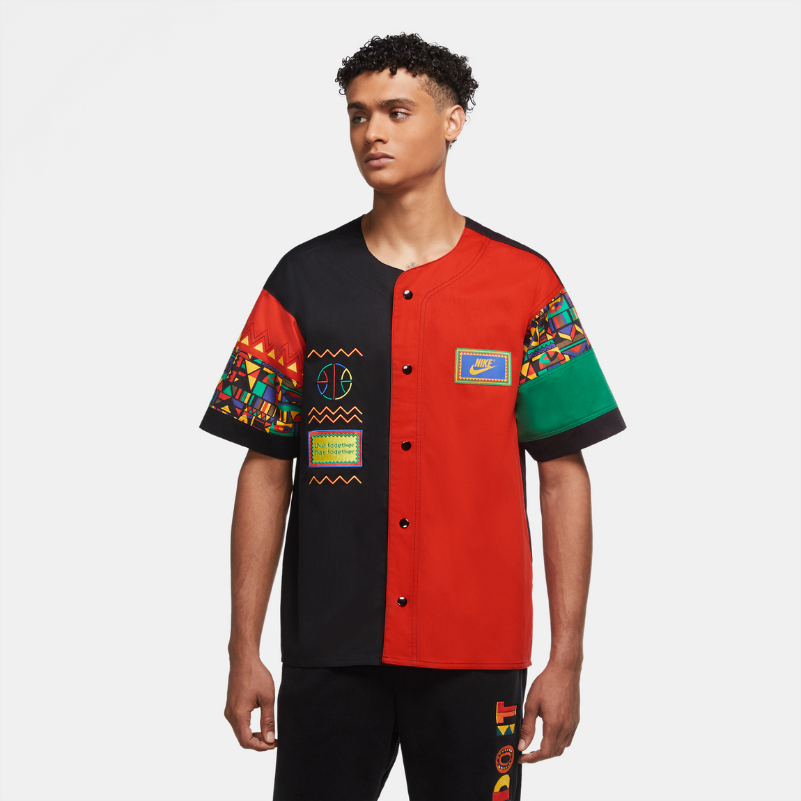 Nike Sporstwear Re-Issue Baseball Jersey (Black/Chile Red) - Nike Sporstwear Re-Issue Baseball Jersey (Black/Chile Red) -