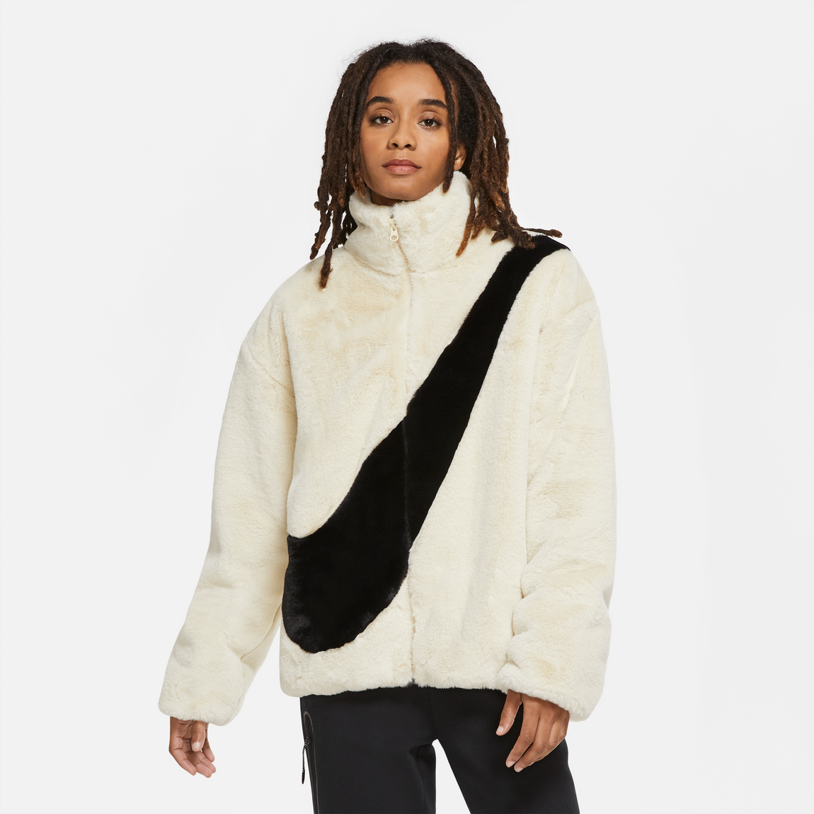 Nike Sportswear Women's Faux Fur Jacket (Fossil/Black) - Nike Sportswear Women's Faux Fur Jacket (Fossil/Black) -