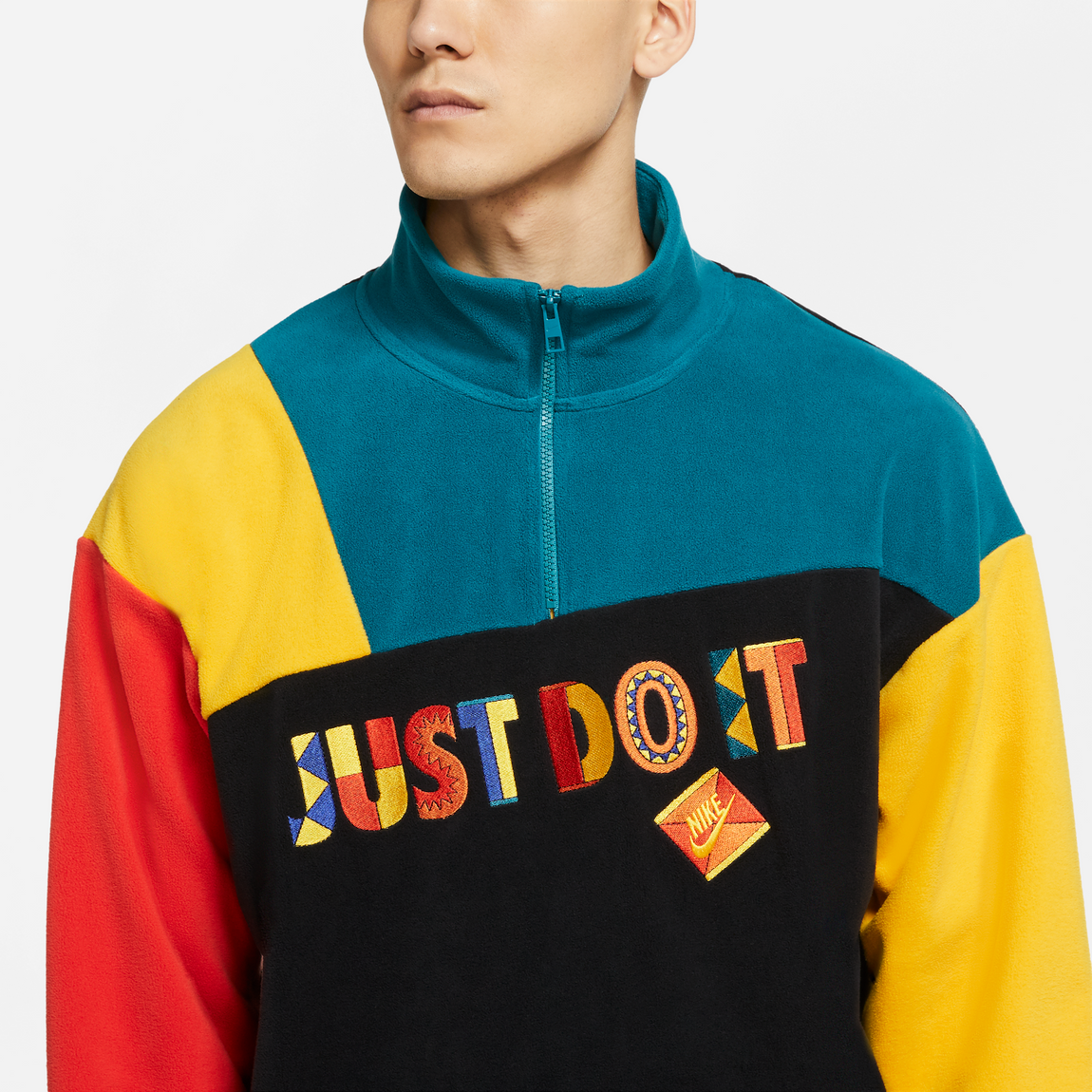 Nike Sportswear Re-Issue Fleece Quarter Zip Up (Black/Univ. Gold/Geode Teal) - Nike Sportswear Re-Issue Fleece Quarter Zip Up (Black/Univ. Gold/Geode Teal) -