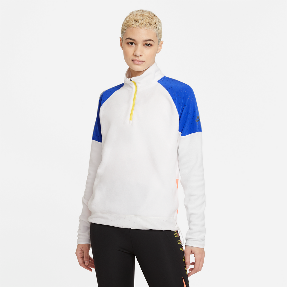 Nike Women's Air Midlayer Quarter Zip Running Top (White/Hyper Royal) - Women's - Jackets & Outerwear