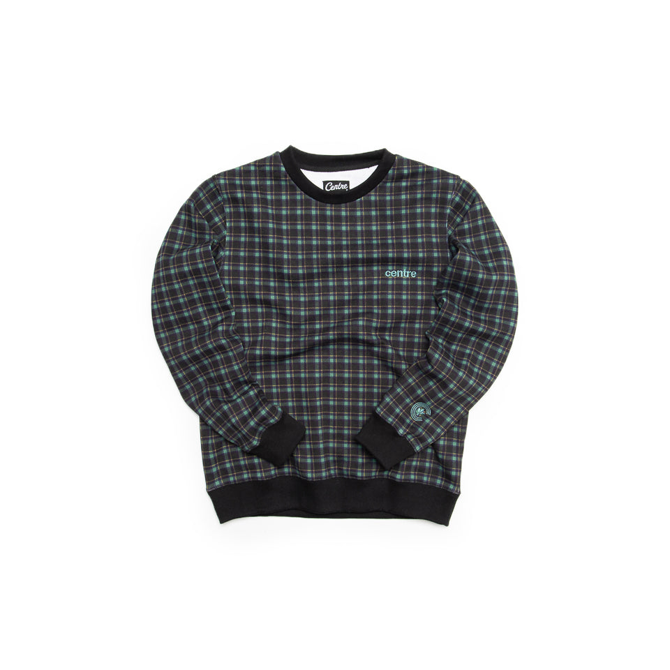 Centre Texas Plaid Crewneck (Navy/Pecos Green) - Centre - Hoodies and Sweatshirts