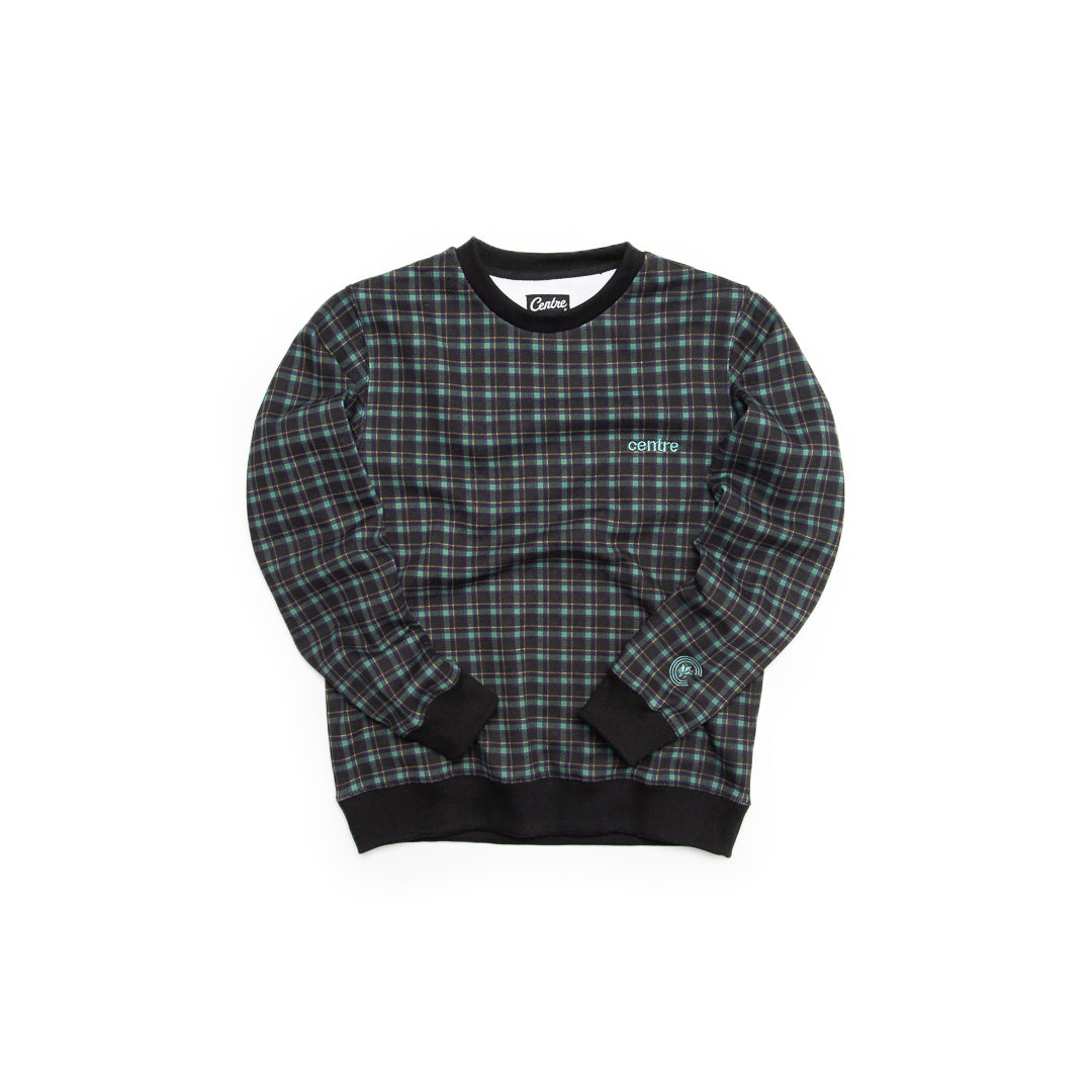 Centre Texas Plaid Crewneck (Navy/Pecos Green) - Centre Texas Plaid Crewneck (Navy/Pecos Green) -