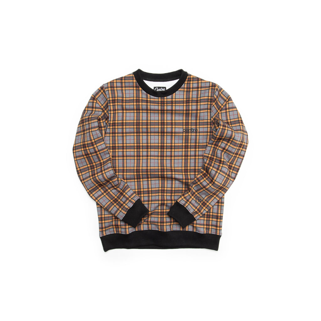 Centre Texas Plaid Crewneck (Grey/Terlingua Orange)