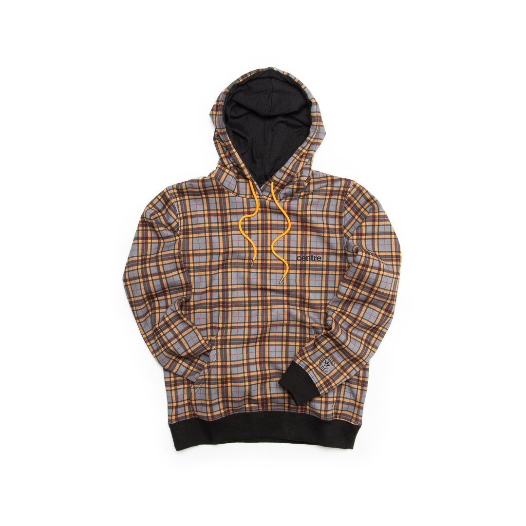 Centre Texas Plaid Hoodie (Grey/Terlingua Orange) - Centre Texas Plaid Hoodie (Grey/Terlingua Orange) -