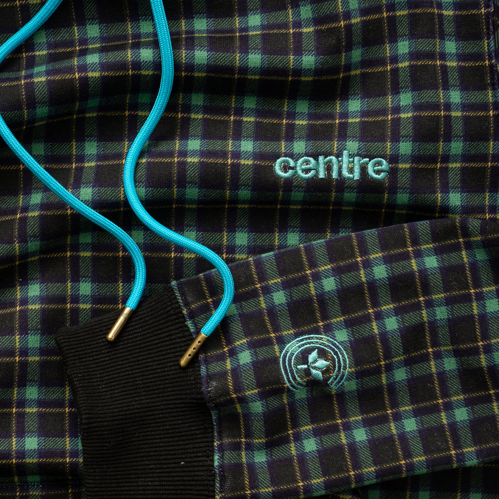 Centre Texas Plaid Hoodie (Navy/Pecos Green)