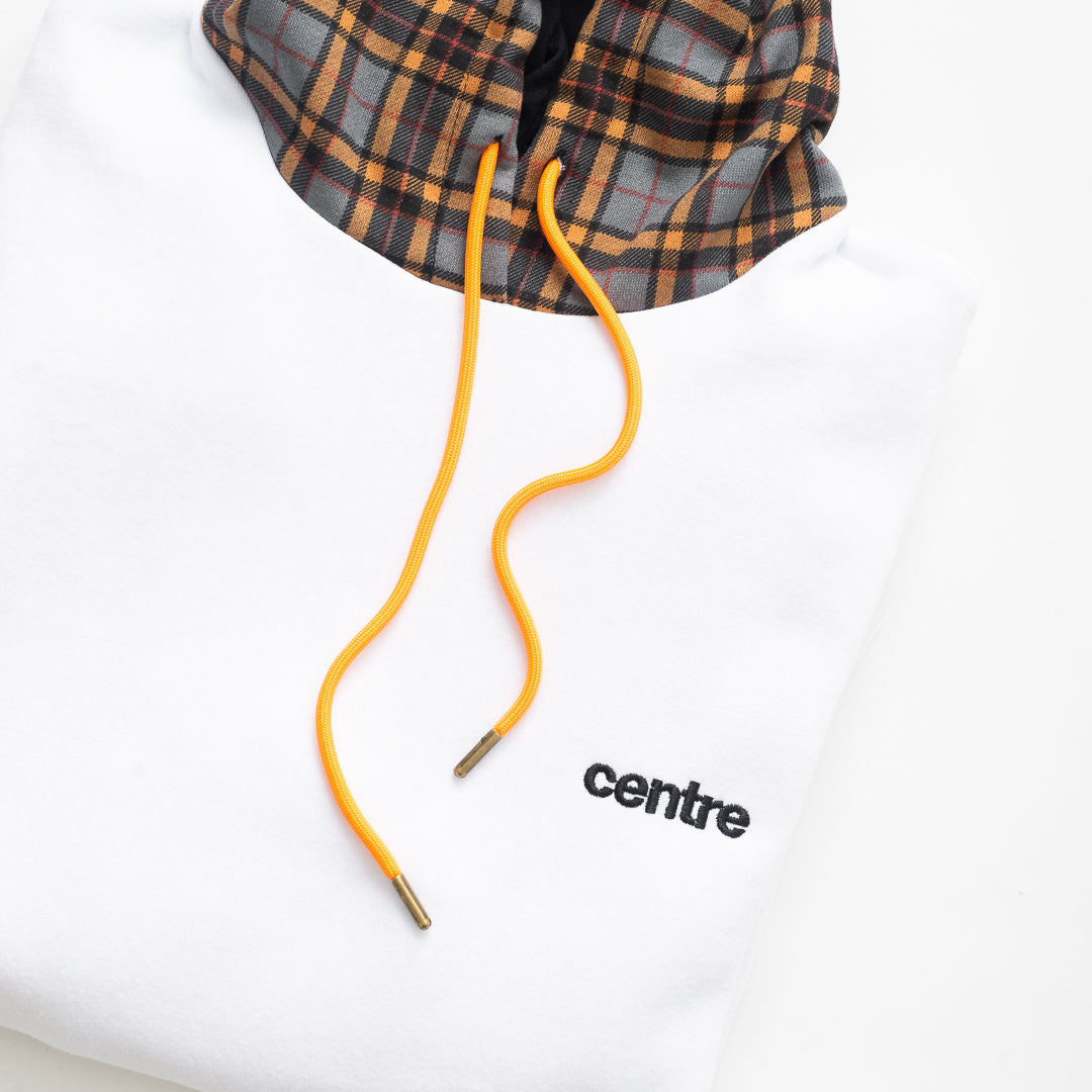Centre Texas Plaid Mixed Hoodie (White/Grey/Terlingua Orange) - Centre Texas Plaid Mixed Hoodie (White/Grey/Terlingua Orange) -