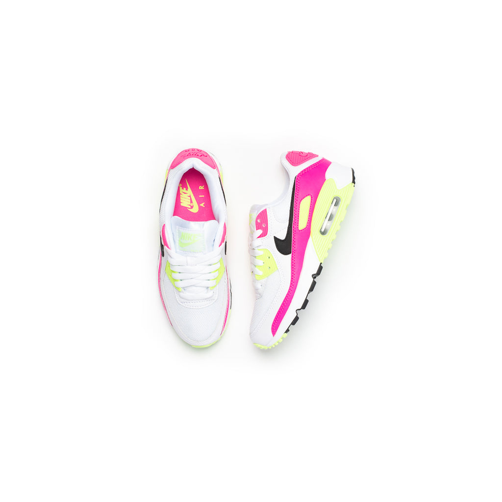 Nike Women's Air Max 90 (White/Black/Pink Blast/Ghost Green)