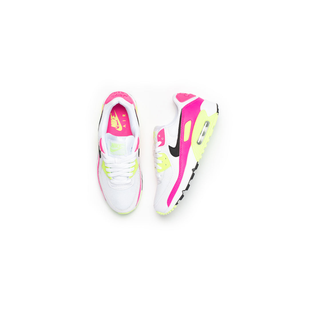 Nike Women's Air Max 90 (White/Black/Pink Blast/Ghost Green) - Nike Women's Air Max 90 (White/Black/Pink Blast/Ghost Green) -