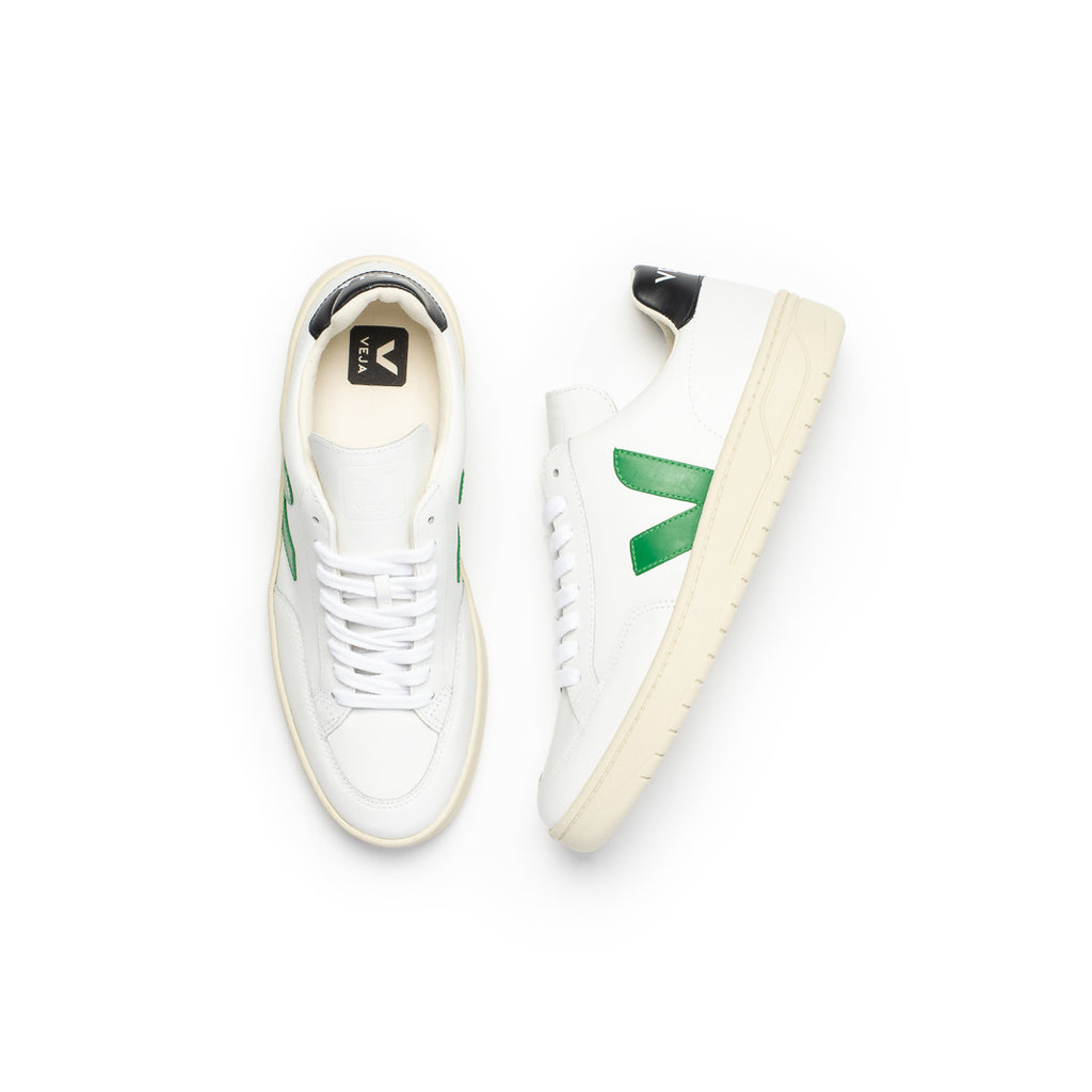 Veja V-12 Leather (Extra White/Emeraude/Black)