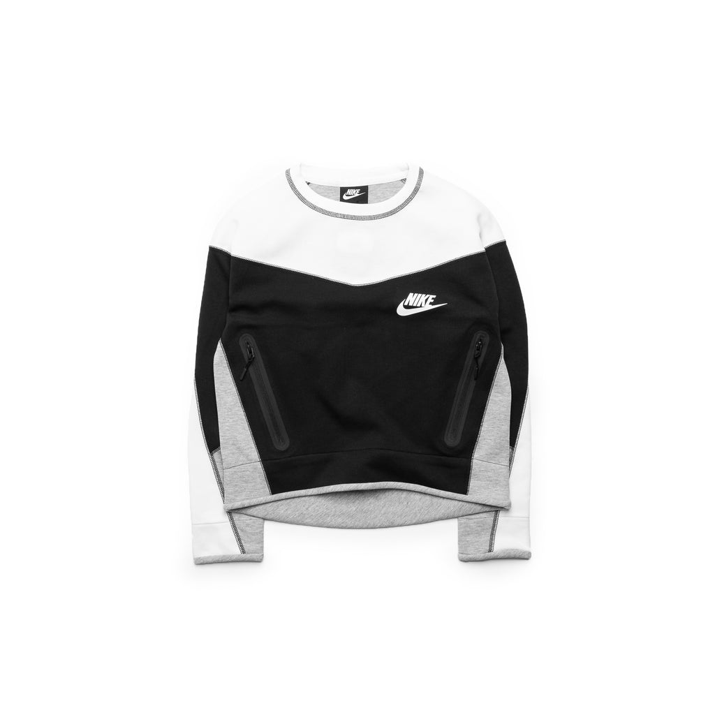Nike Womens Tech Fleece Crewneck (Black/White/DK Heather Grey)