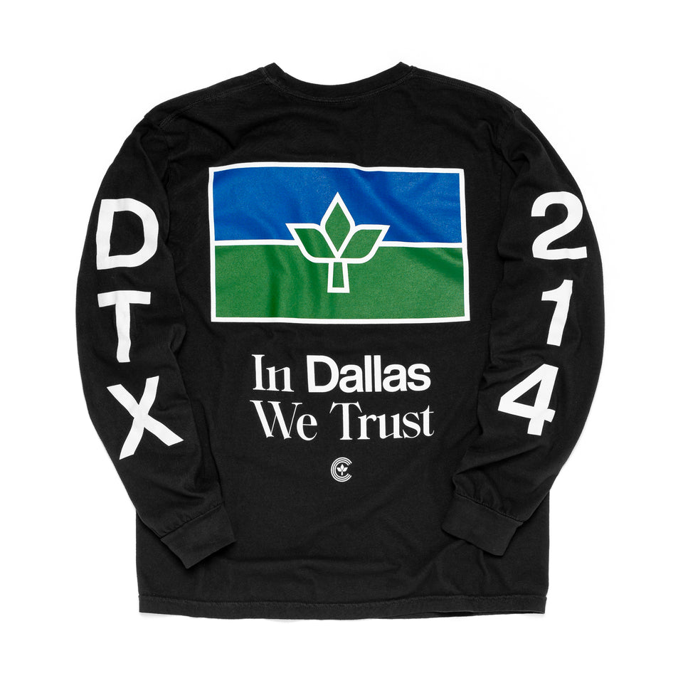 Centre In Dallas We Trust Long Sleeve Tee (Black) - Centre Tops
