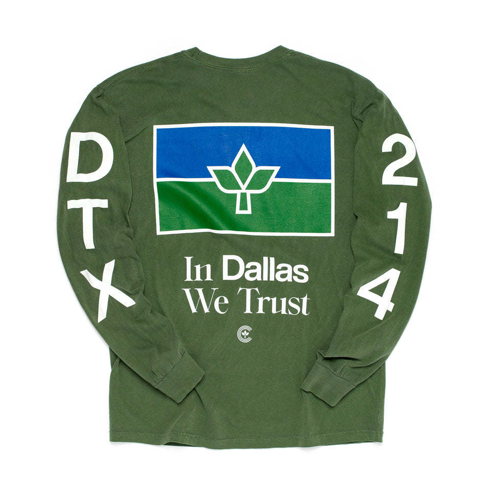 Centre In Dallas We Trust Long Sleeve Tee (Hemp) - Centre Tops