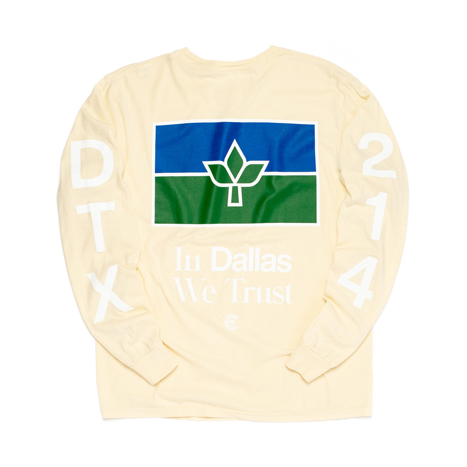 Centre In Dallas We Trust Long Sleeve Tee (Ivory) - Men's Tees/Tanks