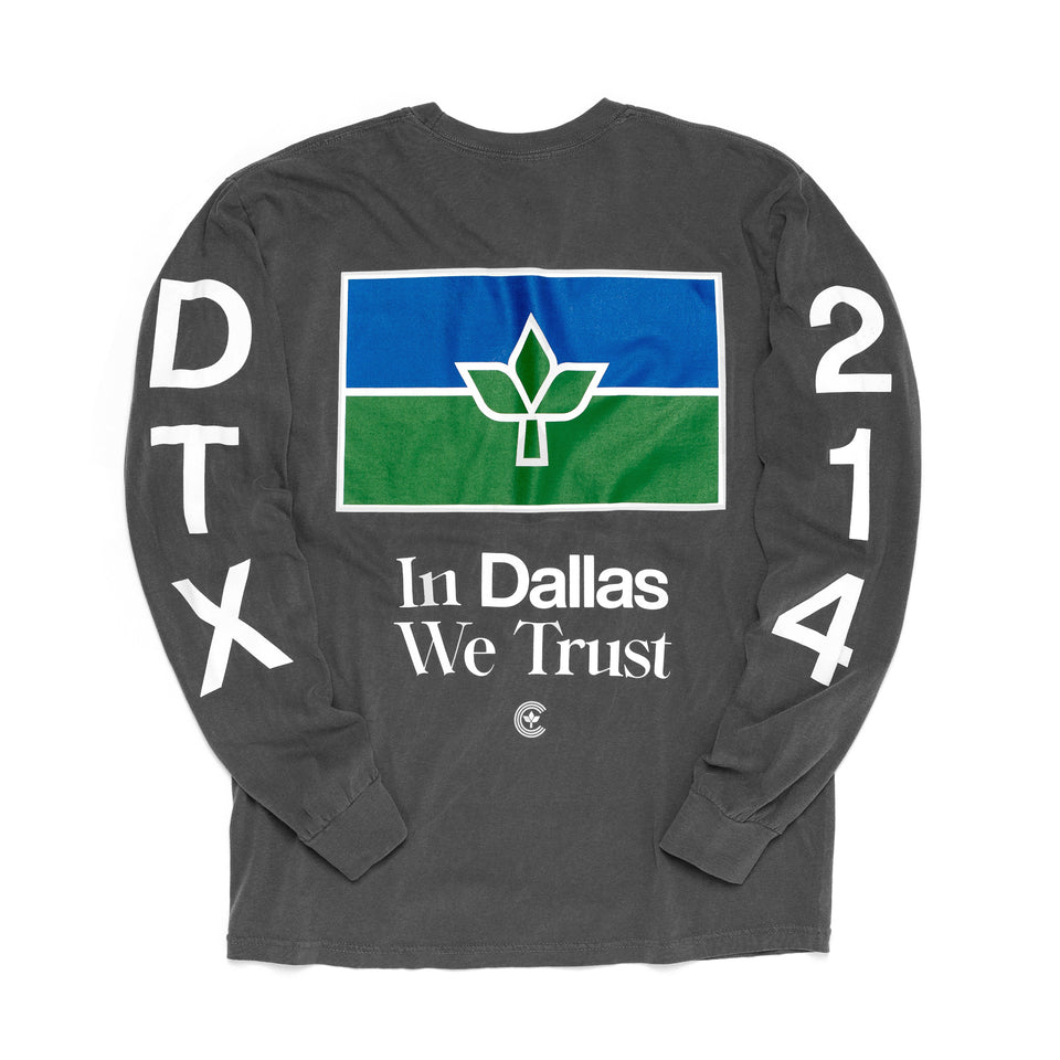 Centre In Dallas We Trust Long Sleeve Tee (Pepper) - Centre Tops