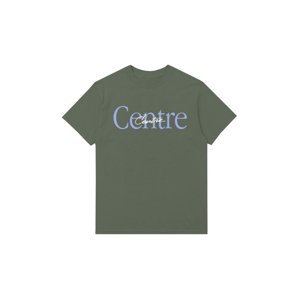Centre Mixed Media Script Tee (Hemp)