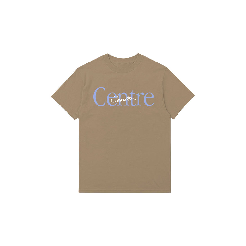 Centre Mixed Media Script Tee (Khaki)