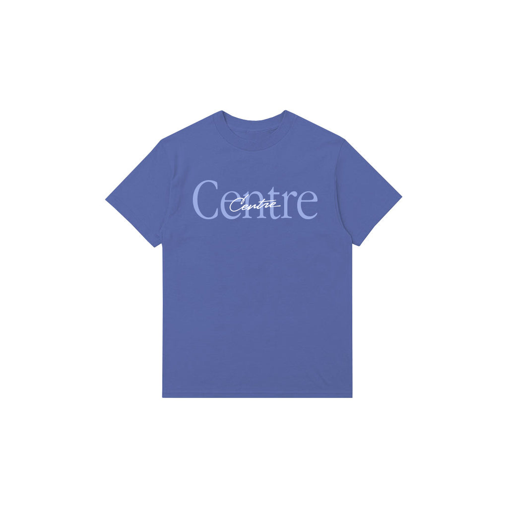 Centre Mixed Media Script Tee (Mystic Blue)