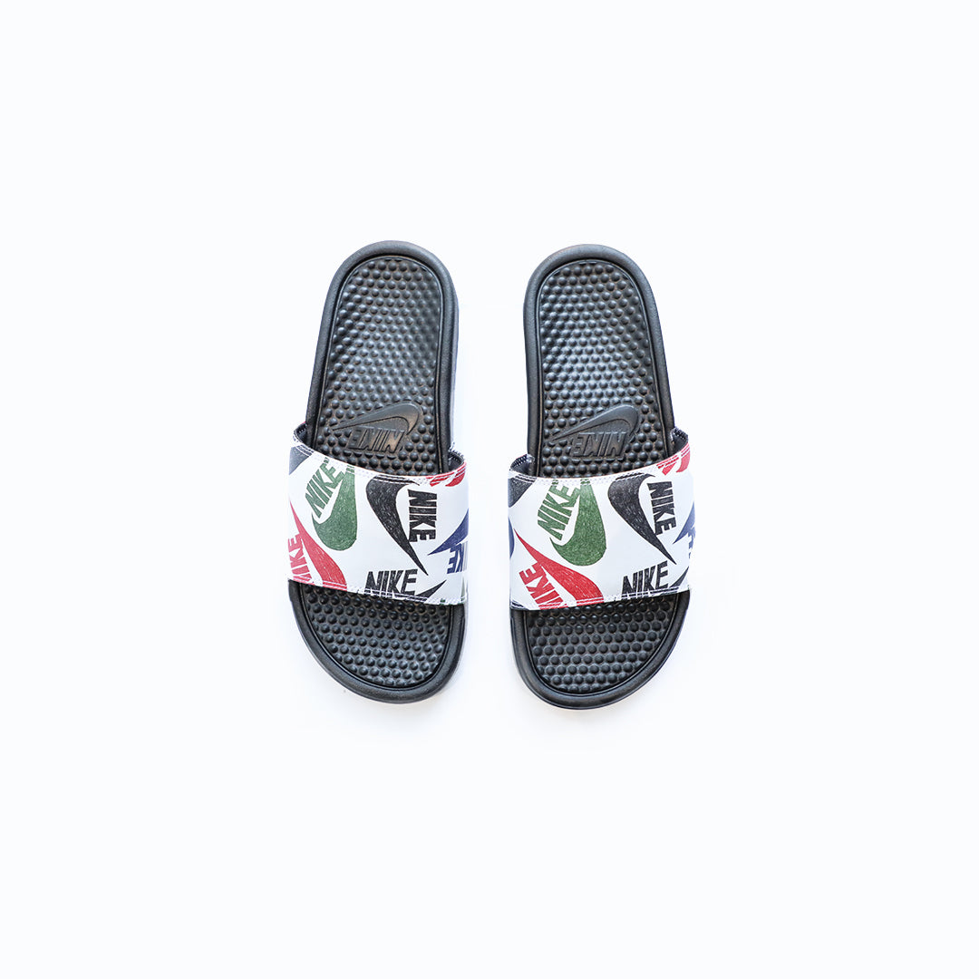 Nike Benassi JDI Slide (Black/White/Multi) - Nike Benassi JDI Slide (Black/White/Multi) -