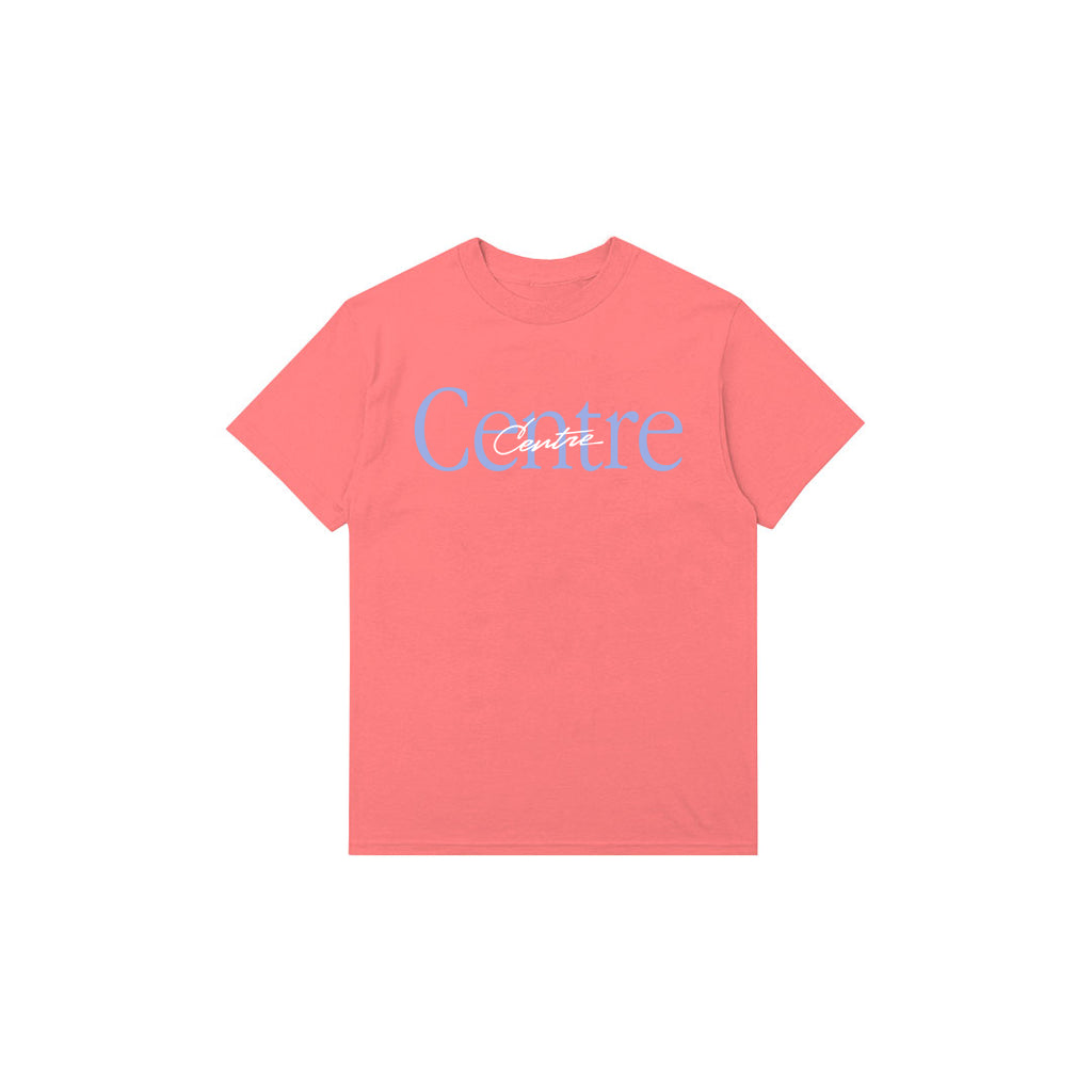 Centre Mixed Media Script Tee (Salmon)