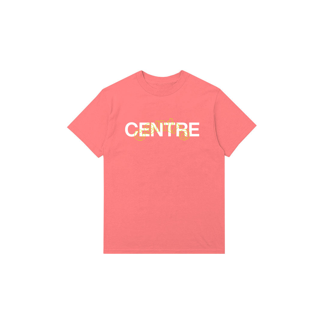 Centre Mixed Media Block Tee (Salmon) - Centre Mixed Media Block Tee (Salmon) -