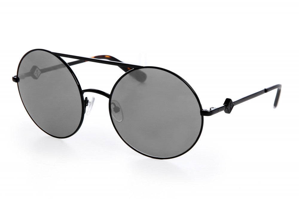 Wonderland Blythe Sunglasses (Black Metal/Gray CZ)