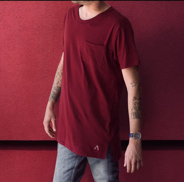 North and Acrux Split Hem Tee (Maroon)