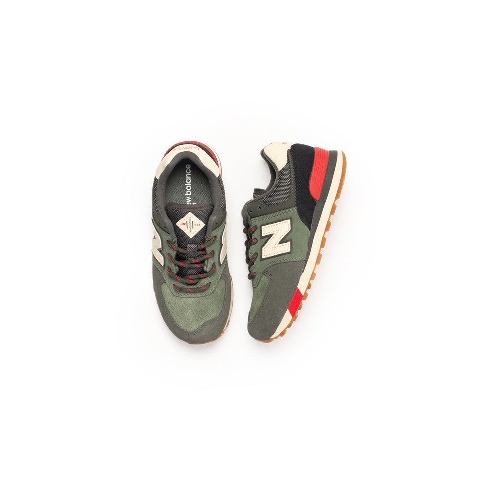 New Balance Preschool 574 (Camo Green/Team Red) - New Balance
