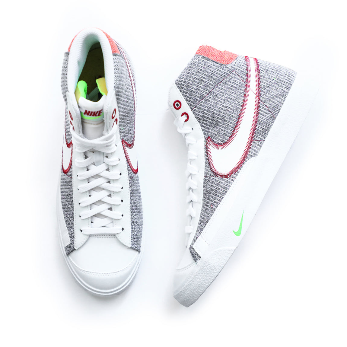 Nike Blazer Mid '77 (Grey/White/Sport Red/Electric Green) - Nike Blazer Mid '77 (Grey/White/Sport Red/Electric Green) -