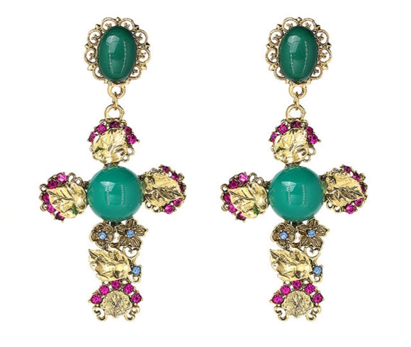 Tiara cross jewel earrings  (N-TF) - ebrook lael