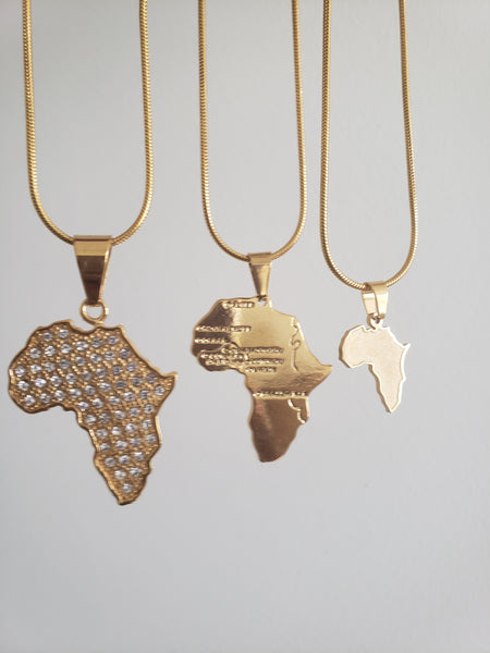 Dainty Africa Map Pendant Necklace  (TF) - ebrook lael