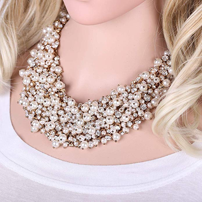 Lula glitz and glam pearl statement necklace (N-TF) - ebrook lael
