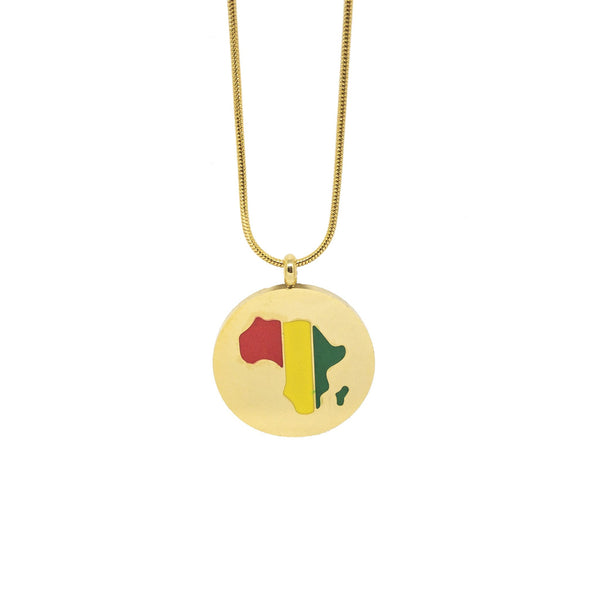 AFRICA MAP ENAMEL Pendant Necklace  (TF) - ebrook lael